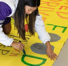 ASB student painting sign